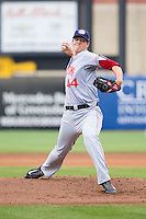 Hagerstown Suns starting pitcher Nick Pivetta (44) in action against the Greensboro Grasshoppers at NewBridge Bank Park on May 20, 2014 in Greensboro, North Carolina.  The Grasshoppers defeated the Suns 5-4. (Brian Westerholt/Four Seam Images)