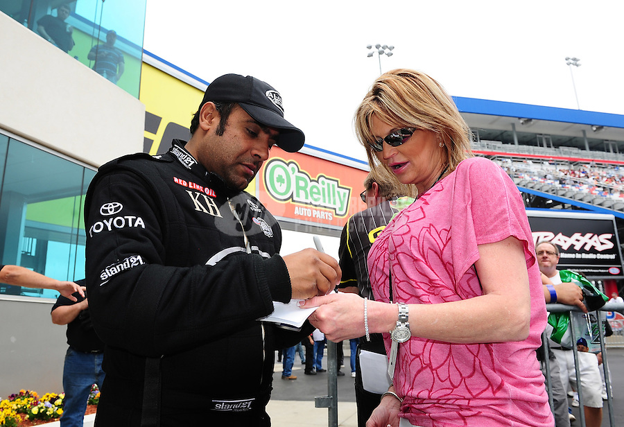Apr. 15, 2012; Concord, NC, USA: NHRA top fuel dragster driver Khalid Albalooshi during the Four Wide Nationals at zMax Dragway. Mandatory Credit: Mark J. Rebilas-