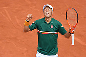 4th June 2017, Roland Garros, Paris, France; French Open tennis championships;  Kei Nishikori (Jap)as he beats Chung in 5 hard sets