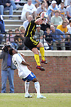 31 March 2007: Columbus's Rusty Pierce (right) leaps high for a header as Kansas City's Scott Sealy (19) looks on. The Kansas City Wizards tied the Columbus Crew 0-0 at Spry Stadium in Winston-Salem, North Carolina in an MLS preseason match.