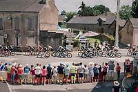 peloton (with yellow jersey Greg Van Avermaet) rolling through Vay<br /> <br /> Stage 4: La Baule &gt; Sarzeau (192km)<br /> <br /> 105th Tour de France 2018<br /> &copy;kramon