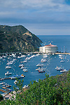 Overlooking The Casino Building and boats anchored in Avalon Harbor, Avalon, Catalina Island, California