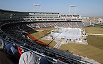 OMAHA, NE - FEBRUARY 9:  The Lincoln Stars take on the Omaha Lancers at the Battle on Ice Saturday at TD Ameritrade in Omaha, NE. This was the first game in USHL history to be played outside. The Lancers defeated the Stars 4-2. (Photo by Dave Eggen/Inertia)