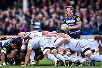 Chris Cook of Bath Rugby prepares to put the ball into a scrum. Aviva Premiership match, between Bath Rugby and Exeter Chiefs on October 17, 2015 at the Recreation Ground in Bath, England. Photo by: Patrick Khachfe / Onside Images