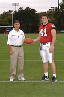 7 August 2006: Stanford Cardinal head coach Walt Harris and Tom McAndrew during Stanford Football's Team Photo Day at Stanford Football's Practice Field in Stanford, CA.