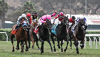Casino Host (#1) winning the Del Mar Handicap at Del Mar Race Course in Del Mar, California on August 25, 2012.