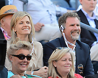 FLUSHING NY- SEPTEMBER 9: Will Ferrell and his wife seen watching Serena Williams Vs Victoria Azarenka in the Womens  finals on Arthur Ashe Stadium at the USTA Billie Jean King National Tennis Center on September 9, 2012 in in Flushing Queens. Credit: mpi04/MediaPunch Inc. ***NO NY NEWSPAPERS*** /NortePhoto.com<br />