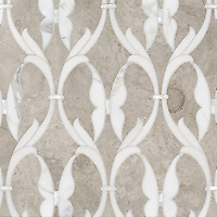 Whistler, a waterjet stone mosaic, shown in honed Palomar, Shell, honed Angora, and polished Calacatta Gold, is part of the Bright Young Things™ collection by New Ravenna.