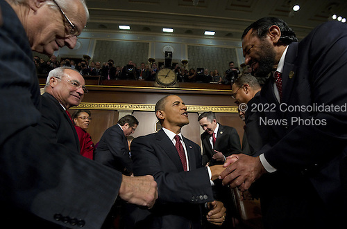 United States President Barack Obama arrives for his State of the Union address in fornt of a joint session of Congress on Tuesday, January 24, 2012 on Capitol Hill in Washington, DC..Credit: Saul Loeb / Pool via CNP