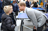 11 April 2019 - Prince Harry, Duke of Sussex speaks with young members who take part in activities during the official opening of the Barking & Dagenham Future Youth Zone in Dagenham, England.  The facility is created by the Charity OnSide Youth Zones and is the first of three facilities expected to open in 2019, which will provide a safe environment where young people can come and enjoy themselves, build key skills and raise their aspirations and confidence to create a happier and healthier generation. Photo Credit: ALPR/AdMedia