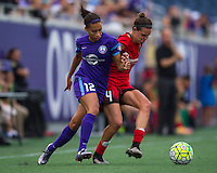 Orlando, FL - Sunday June 26, 2016: Kristen Edmonds, Emily Menges  during a regular season National Women's Soccer League (NWSL) match between the Orlando Pride and the Portland Thorns FC at Camping World Stadium.