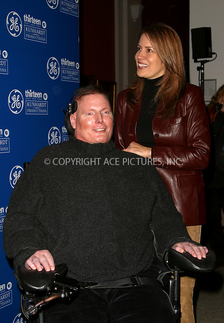 """Christopher Reeve and wife Diana at the screening for PBS Series """"Freedom: A History of US."""" Presented by GE, the 8-part miniseries will be aired nationwide on starting Sunday, January 12. New York, January 9, 2003. Please byline: Alecsey Boldeskul/NY Photo Press.   ..*PAY-PER-USE*      ....NY Photo Press:  ..phone (646) 267-6913;   ..e-mail: info@nyphotopress.com"""