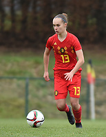 20190206 - TUBIZE , BELGIUM : Belgian Marith De Bondt pictured during the friendly female soccer match between Women under 17 teams of  Belgium and The Netherlands , in Tubize , Belgium . Wednesday 6th February 2019 . PHOTO SPORTPIX.BE DIRK VUYLSTEKE