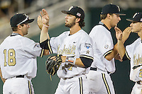 Vanderbilt Commodores shortstop Dansby Swanson (7) celebrates defeating the TCU Horned Frogs in Game 12 of the NCAA College World Series on June 19, 2015 at TD Ameritrade Park in Omaha, Nebraska. The Commodores eliminated TCU 7-1. (Andrew Woolley/Four Seam Images)
