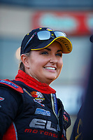 Jul 8, 2016; Joliet, IL, USA; NHRA pro stock driver Erica Enders-Stevens during qualifying for the Route 66 Nationals at Route 66 Raceway. Mandatory Credit: Mark J. Rebilas-USA TODAY Sports