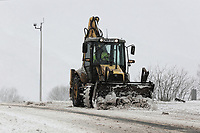 WEATHER PICTURE WALES<br /> Pictured: A bulldozer clears snow on the A470 road in Storey Arms, Brecon Beacons in south Wales, UK. Friday 02 March 2018<br /> Re: Beast from the East and Storm Emma has been affecting most parts of the UK.