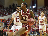 NWA Democrat-Gazette/CHARLIE KAIJO Arkansas Razorbacks forward Gabe Osabuohien (22) drives the ball during the first half of the NCAA National Invitation Tournament, Saturday, March 23, 2019 at the Simon Skjodt Assembly Hall at the University of Indiana in Bloomington, Ind. The Arkansas Razorbacks fell to the Indiana Hoosiers 63-60.