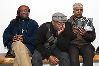 Will Calhoun, Corey Glover, and Vernon Reid of Living Colour pose for a portrait at Williamsburg Pizza in Brooklyn, New York on February 14, 2015.