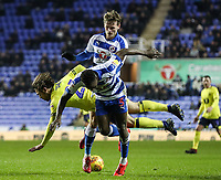 Blackburn Rovers' Bradley Dack goes down in the penalty area under pressure from Reading's John Swift and Andy Yiadom<br /> <br /> Photographer Andrew Kearns/CameraSport<br /> <br /> The EFL Sky Bet Championship - Reading v Blackburn Rovers - Wednesday 13th February 2019 - Madejski Stadium - Reading<br /> <br /> World Copyright © 2019 CameraSport. All rights reserved. 43 Linden Ave. Countesthorpe. Leicester. England. LE8 5PG - Tel: +44 (0) 116 277 4147 - admin@camerasport.com - www.camerasport.com