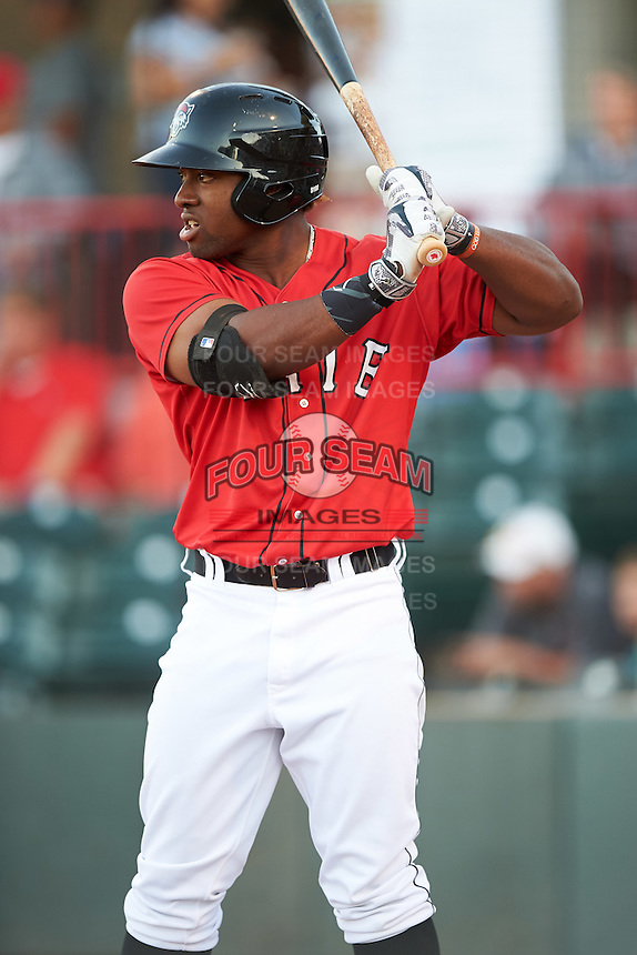 Erie SeaWolves left fielder Christin Stewart (17) on deck during a game against the Richmond Flying Squirrels on August 22, 2016 at Jerry Uht Park in Erie, Pennsylvania.  Erie defeated Richmond 4-2.  (Mike Janes/Four Seam Images)
