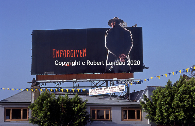 Billboard for the movie Unforgiven with Clint Eastwood on the Sunset Strip in Los Angeles, CA circa 1992