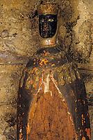 Europe/France/Auverne/63/Puy-de-Dôme/Marsac-en-Livradois: La chapelle-musée des Pénitents Blancs du Livradois- Détail vierge noire