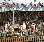 Farmyard novelties animal toys display at Mid and West Suffolk show, Stonham Barns, Suffolk, England