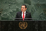 General Assembly Seventy-fourth session, 5th plenary meeting<br /> <br /> His Excellency Jimmy Morales, President, Republic of Guatemala