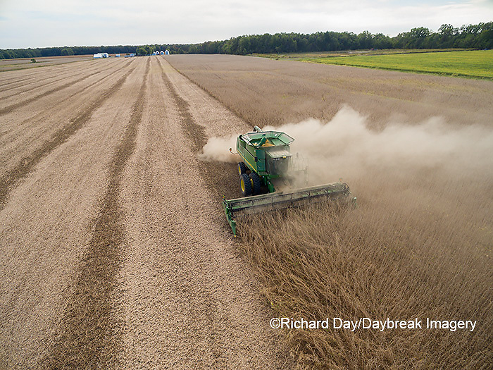 63801-09208 Soybean Harvest, John Deere combine harvesting soybeans - aerial - Marion Co. IL