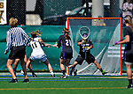 28 April 2012: University of Vermont Catamount midfielder Karli Mackendrick, a Sophomore from Whitby, Ontario, scores a goal against the University at Albany Great Dames at Virtue Field in Burlington, Vermont. The Lady Danes defeated the Lady Cats 12-10 in America East Women's Lacrosse. Mandatory Credit: Ed Wolfstein Photo