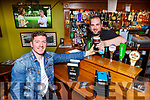 Kieran O'Leary and Shane Hurley who are asking people to switch to Pub Mode by handing in your phone for an hour and chatting to people in Corkerys bar Killarney