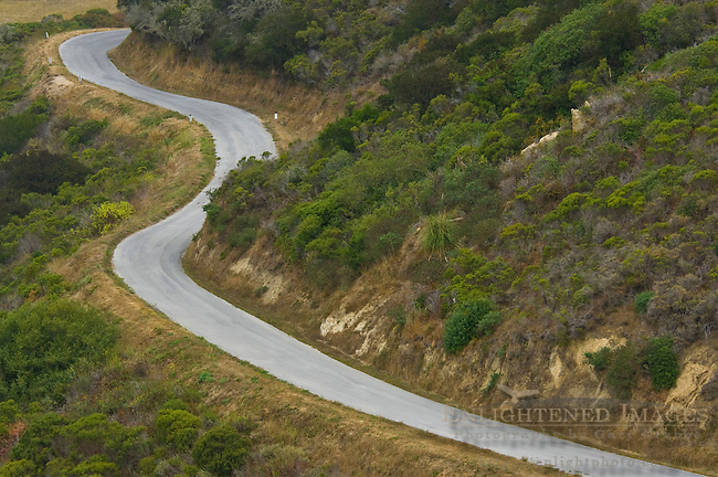 Twisting curves on country road near San Gregorio, San Mateo County, California