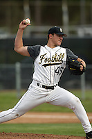 2004 New York Yankees first round draft pick Phil Hughes of Foothill High School pitches in a High School baseball game at Foothill High School during the 2004 season in Anaheim, California. (Larry Goren/Four Seam Images)