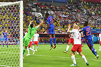 Yerry MINA COL scored the Goal for 0 1 against Goalkeeper Wojciech SZCZESNY POL Action Header Poland PO Colombia COL 0 3 Preliminary Group C Match 31 on 24 06 2018 in Kazan Kazan Arena Soccer World Cup 2018 in Russia from 14 06 15 07 2018  <br /> Kazan 24-06-2018 Football FIFA World Cup Russia  2018 <br /> Poland - Colombia / Polonia - Colombia <br /> Foto Imago/Insidefoto