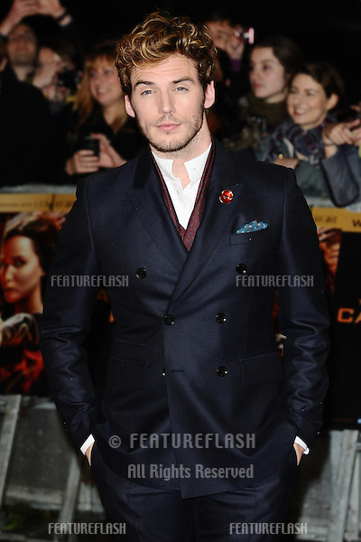 "Sam Claflin arriving for the World Premiere of ""The Hunger Games: Catching Fire"" in Leicester Square, London. 11/11/2013 Picture by: Steve Vas / Featureflash"