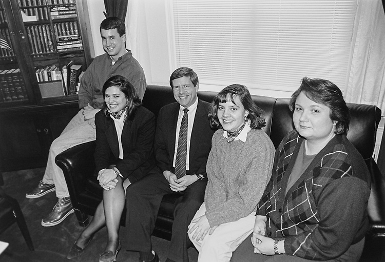 Rep. Van Hilleary, R-Tenn., with his staff members, Brian A. Joyce, Melissa Moore, new staff assistant Erin Baumgardner, and Elaine Robinson on Feb. 8, 1996. (Photo by Laura Patterson/CQ Roll Call via Getty Images)