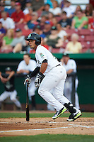 Kane County Cougars catcher Elvin Soto (10) at bat during a game against the Great Lakes Loons on August 13, 2015 at Fifth Third Bank Ballpark in Geneva, Illinois.  Great Lakes defeated Kane County 7-3.  (Mike Janes/Four Seam Images)
