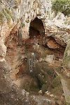Israel, Mount Carmel. Excavations in the Tabun (Oven) cave in Wadi Me'arot where archeologists have identified three different prehistoric cultures,.The Acheulian culture (150-200 thousand years ago), Muarian culture (100-150 thousand years ago), Mousterian culture (40-100 thousand years ago), Uriniacian culture (12-40 thousand years ago), and Natufian culture (12-19 thousand years ago)......