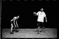 Players of Tsinghua University Affiliated Middle School basketball team take part in a training session at Tsinghua University Affiliated Middle School in Beijing, January 2012.