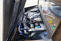 """Pictured: The V8 450bhp power engine of the Fastest Shed in Pendine, west Wales, UK. Saturday 12 May 2018<br /> Re: A motorised shed has broken its own land speed record on a Welsh beach as it hit over 100mph.<br /> The Fastest Shed smashed its previous 80mph (129km/h) record for the fastest shed at a land speed event at Pendine Sands in Carmarthenshire.<br /> Its owner, gardener Kevin Nicks said it was """"marvellous"""" to hit 101.043mph (160 km/h) in what he said was the only road legal shed with an engine in the world.<br /> Mr Nicks, from Chipping Norton in Oxfordshire, created his bespoke shed on wheels, which now boasts a turbo-charged 450 brake horsepower turbo engine that is more powerful than many sports cars."""