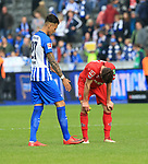 14.04.2018, OLympiastadion, Berlin, GER, 1.FBL, Hertha BSC VS. 1.FC Koeln, im Bild <br /> Davie Selke (Hertha BSC Berlin #27), Jonas Hector (1.FC Koeln #14)<br /> <br /> <br />       <br /> Foto &copy; nordphoto / Engler