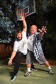 Tenacious D - Jack Black and Kyle Gass photographed exclusively playing basketball in Sherman Oaks, CA USA - July 7, 2008.  Photo: © Zach Cordner / IconicPix