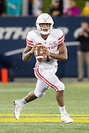 Annapolis, MD - OCT 8, 2016: Houston Cougars quarterback Greg Ward Jr. (1) rolls out the pocket during game between Houston and Navy at Navy-Marine Corps Memorial Stadium Annapolis, MD. The Midshipmen upset #6 Houston 46-40. (Photo by Phil Peters/Media Images International)