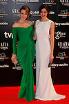 Actress Carolina Bang (L) and actress Dafne Fernandez (R)  attend Goya Cinema Awards 2014 red carpet at Centro de Congresos Principe Felipe on February 9, 2014 in Madrid, Spain. (ALTERPHOTOS/Victor Blanco)
