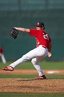 Palm Beach Cardinals pitcher Cole Aker (29) during a Florida State League game against the Clearwater Threshers on August 9, 2019 at Roger Dean Chevrolet Stadium in Jupiter, Florida.  Clearwater defeated Palm Beach 5-3 in the first game of a doubleheader.  (Mike Janes/Four Seam Images)