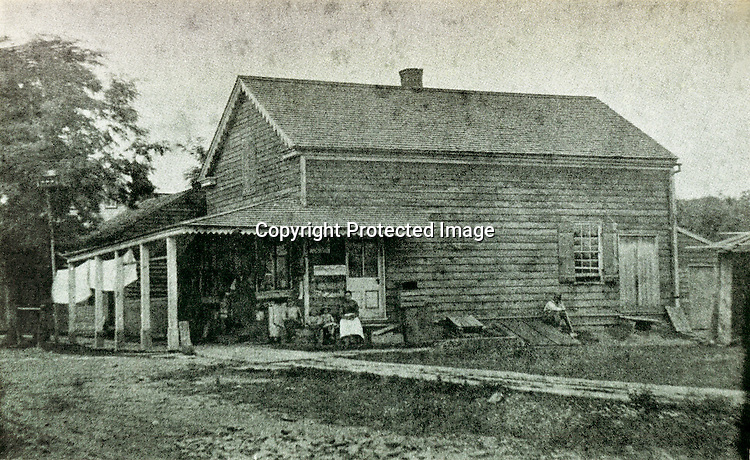 Anthony, Thomas, William, &amp; Bernard Litzinger's 'Litzinger's Omnifareous Store' in Loretto, PA.  Anthony and his son Thomas started the store in 1837 and it was said to contain everything from 'coal oil to stove pipe hats'. The photo was taken sometime before it burnt down during a fire in 1903.<br /> <br /> Conrad&gt;Leonard&gt;Anthony&gt;Thomas&amp;William&gt;Bernard W.