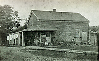 Anthony, Thomas, William, &amp; Bernard Litzinger's 'Litzinger's Omnifareous Store' in Loretto, PA.  Anthony and his son Thomas started the store in 1837 and it was said to contain everything from 'coal oil to stove pipe hats'. The photo was taken sometime before it burnt down during a fire in 1903.<br />