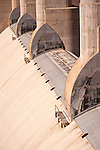 Concrete spillway and steel gates on the Arizona side of Hoover Dam, Arizona