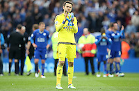 Lukasz Fabianski of Swansea City applauds the fans after the Barclays Premier League match between Leicester City and Swansea City played at The King Power Stadium, Leicester on April 24th 2016