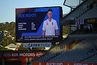 General view with Joe Root on the big screen.<br /> New Zealand Blackcaps v England. 1st day/night test match. Eden Park, Auckland, New Zealand. Day 4, Sunday 25 March 2018. &copy; Copyright Photo: Andrew Cornaga / www.Photosport.nz